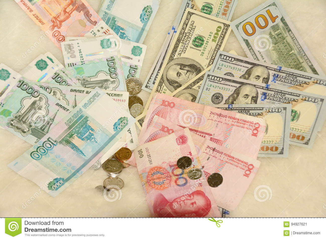 currency dollar yuan ruble banknotes stock image image of