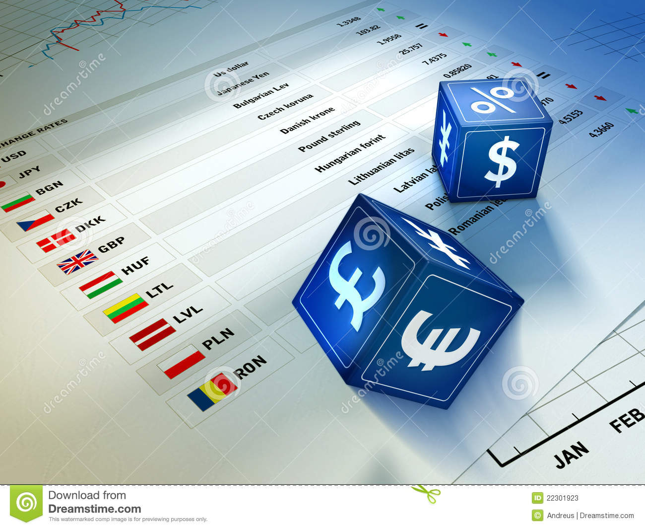 Currency exchange stock illustration illustration of icon 22301923 two dices with currency symbols rolling on an exchange rates table digital illustration biocorpaavc