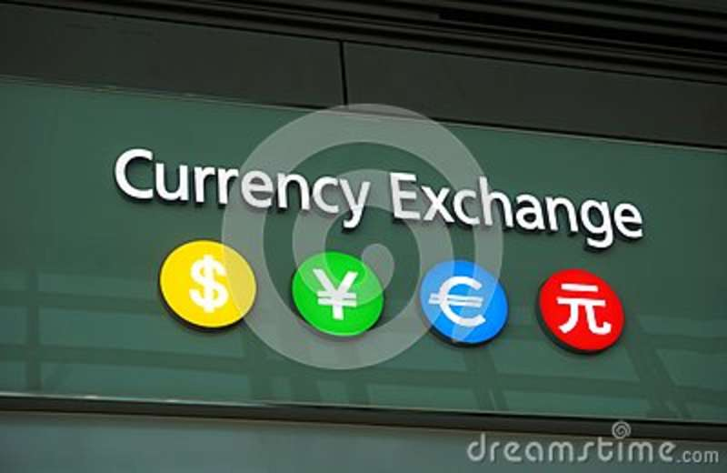 A currency exchange bureau editorial photo. image of sign 82793246