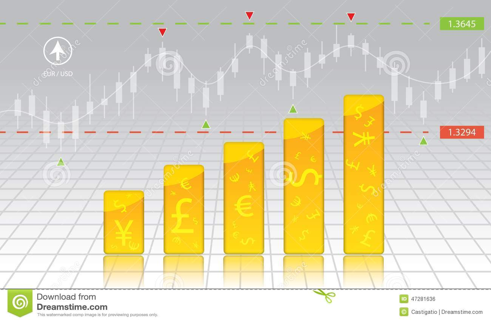 Currency exchange chart forex stock money stock vector