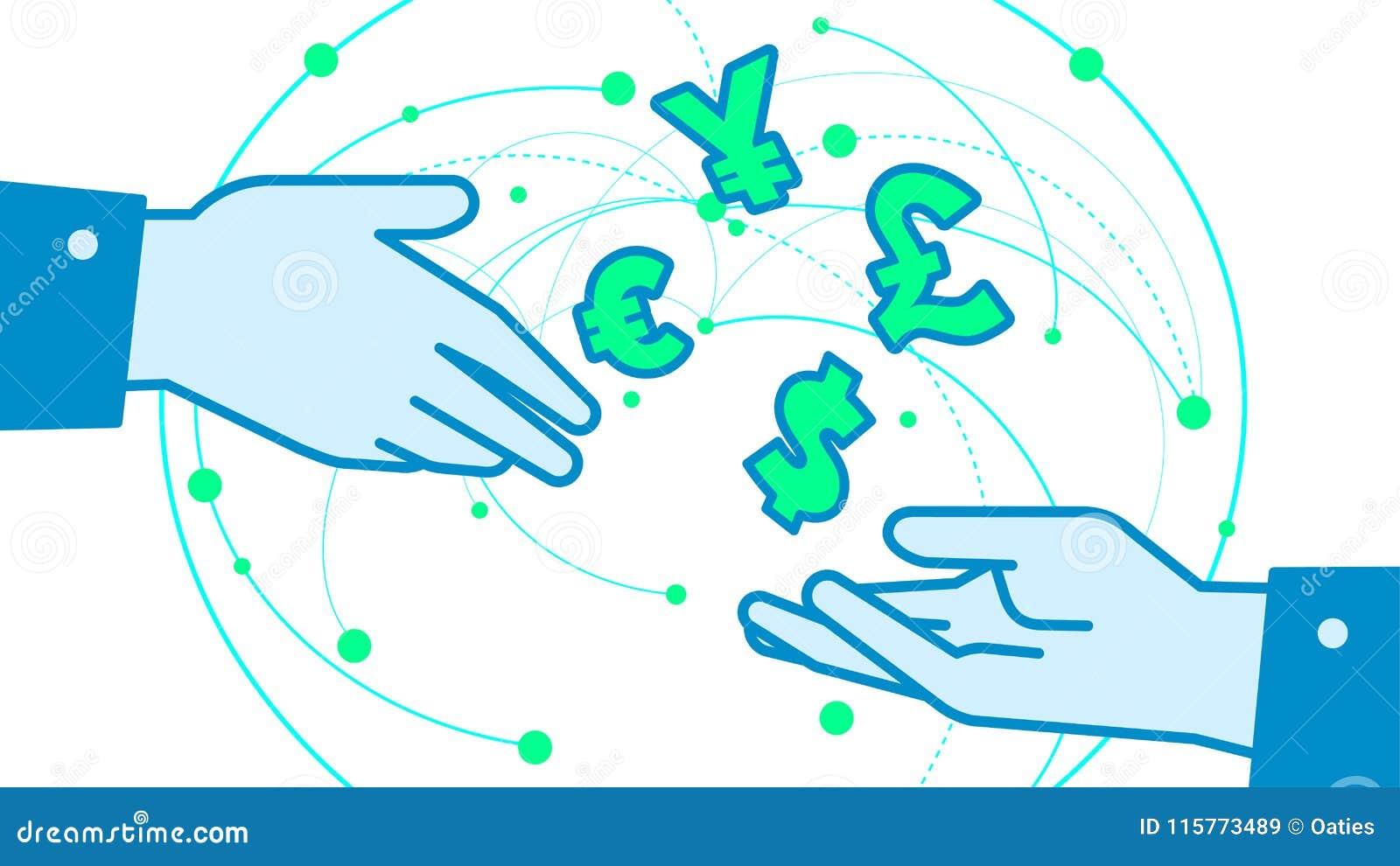 currency exchange converter illustration vector background stock
