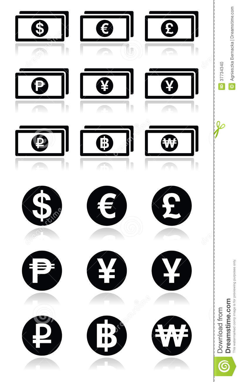 Currency exchange symbols bank notes and coins icons set stock currency exchange symbols bank notes and coins icons set biocorpaavc Images