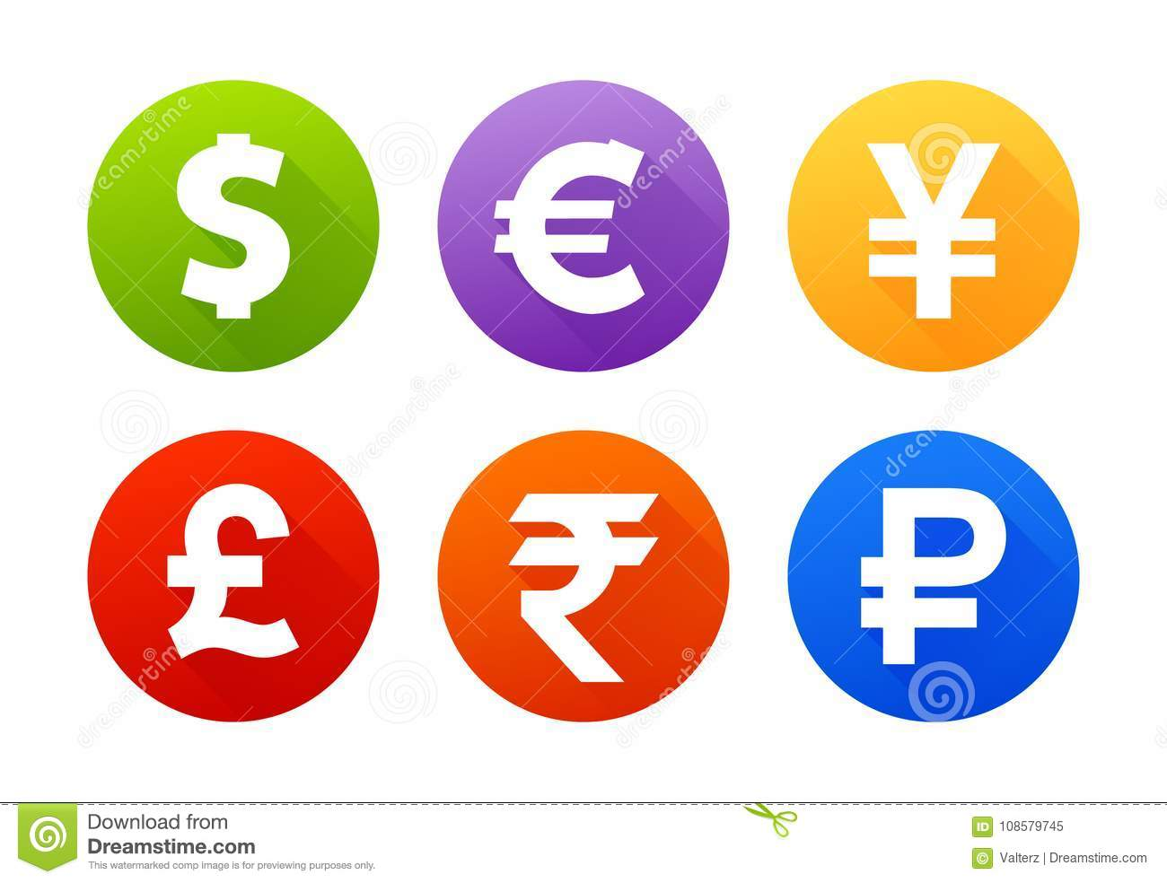 Currency Icons With Shadow Dollar Euro Pound Yen Yuan Rupee Ruble