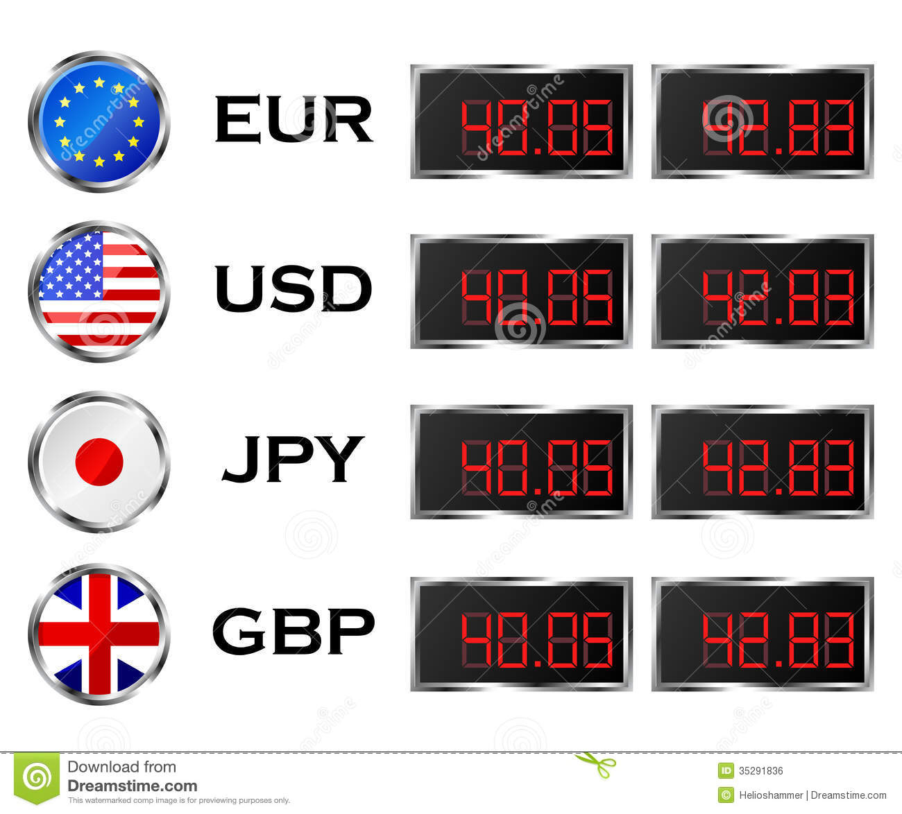Buy: Currency Rate Board Stock Vector. Illustration Of Flag