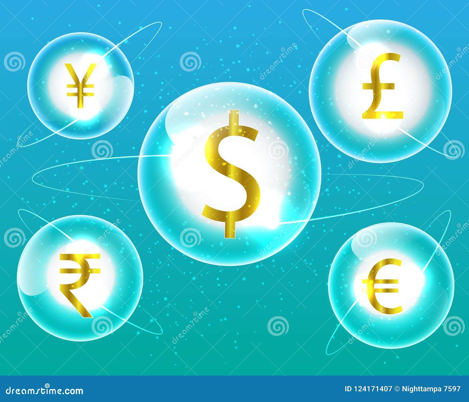 Currency Symbol Dollareurorupeepoundyen Money Exchange Stock
