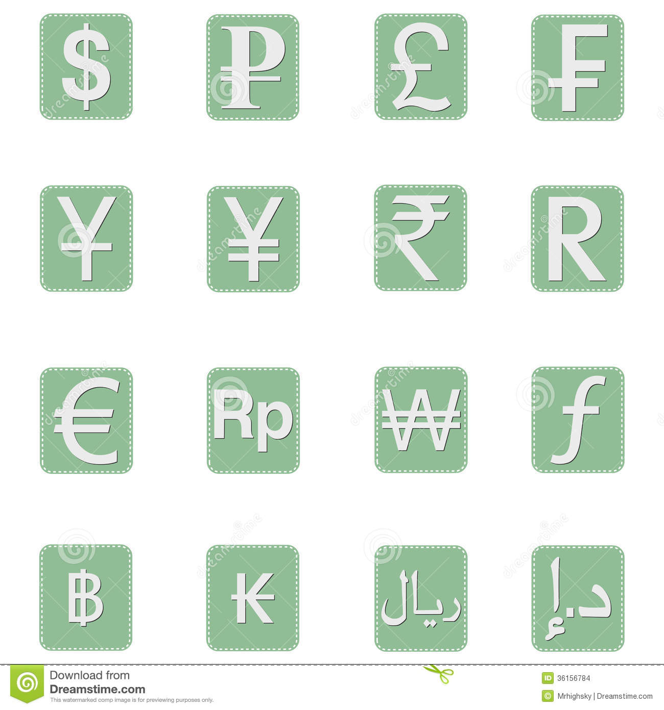 Currency Symbol Icons Stock Vector Illustration Of Business 36156784