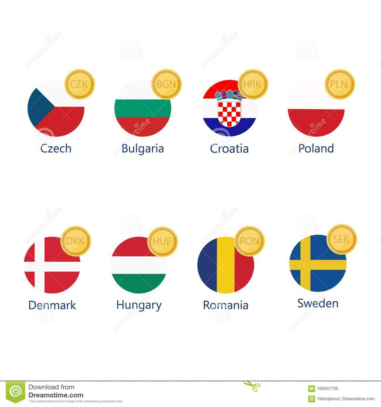 Currency Symbols And Flags Stock Illustration Illustration Of