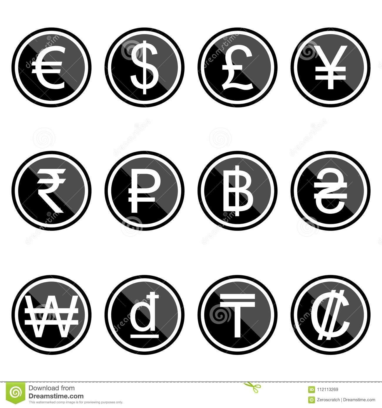 Currency Symbols Icons Simple Black Colored Set Stock Vector