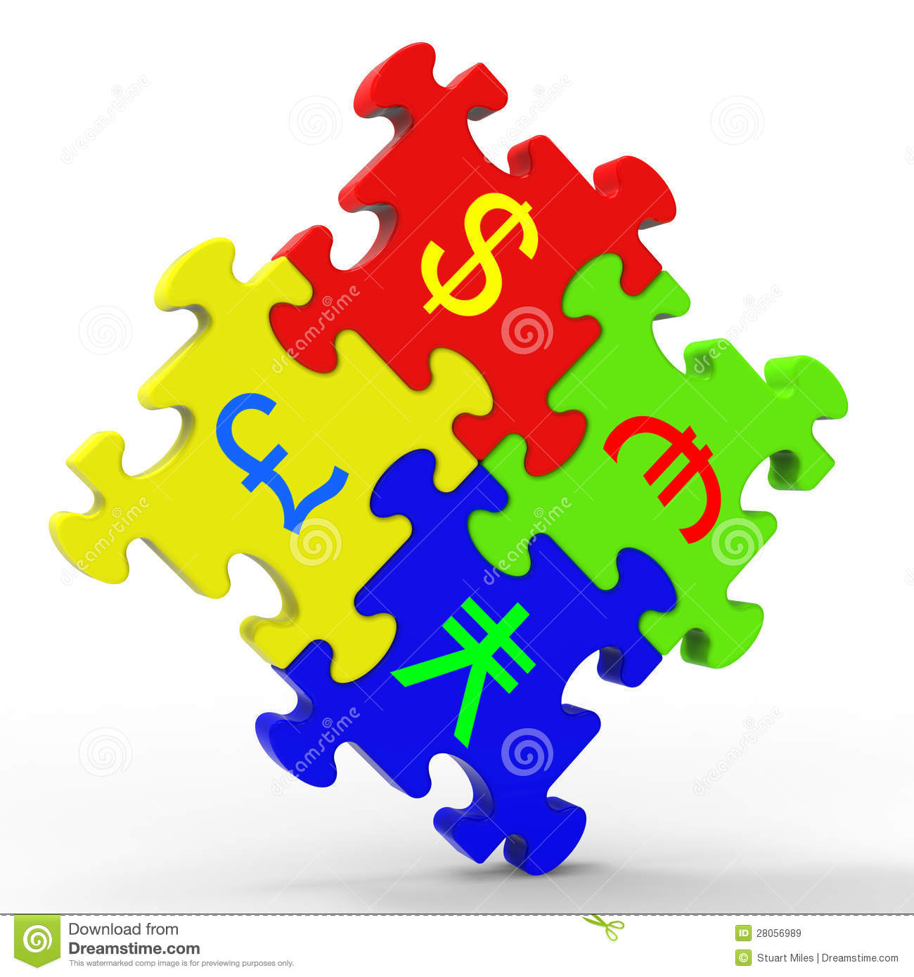 Currency Symbols Puzzle Shows Global Investment Stock Illustration