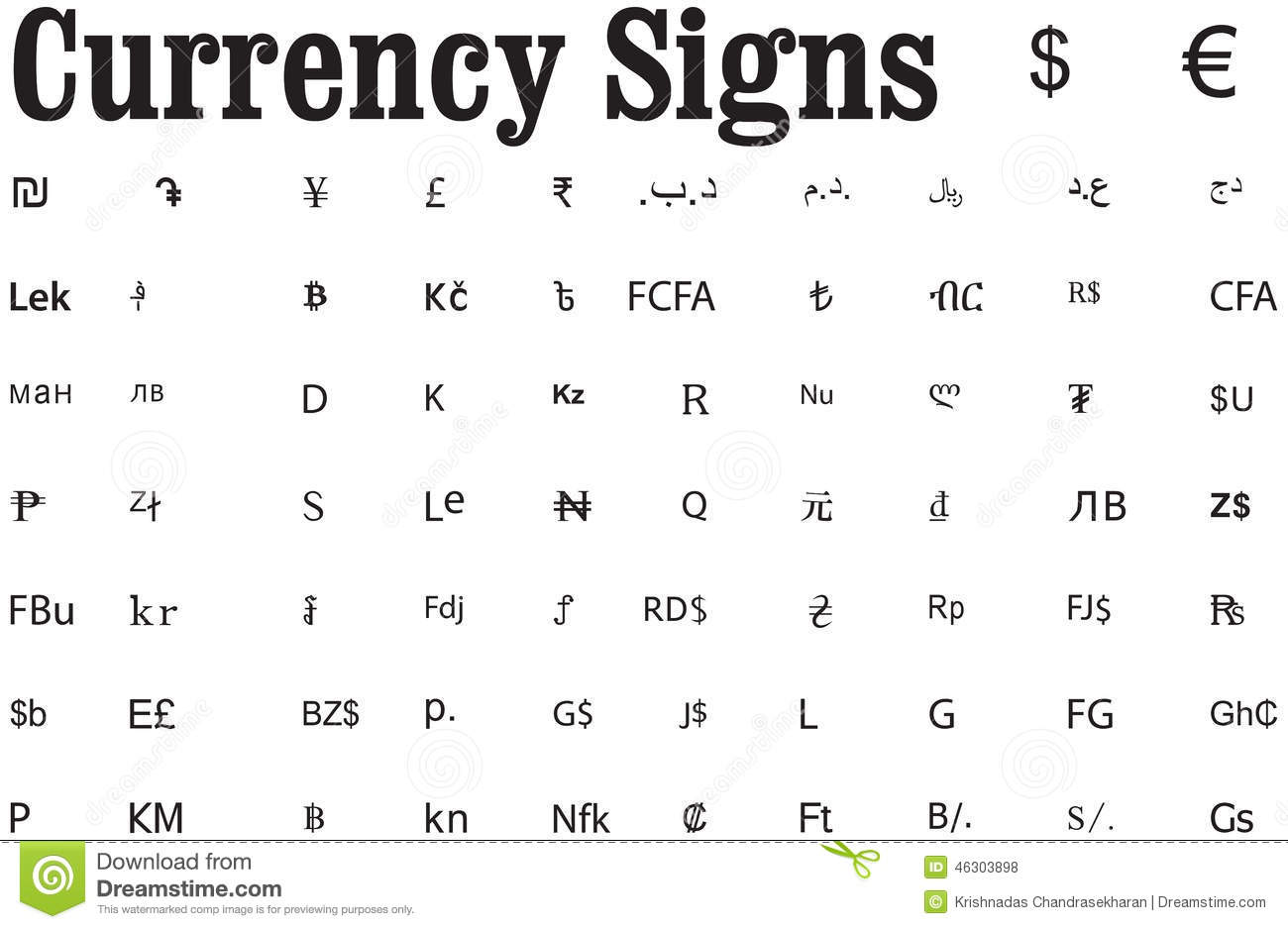 Currency Symbols Representing Money On Various Countries Stock