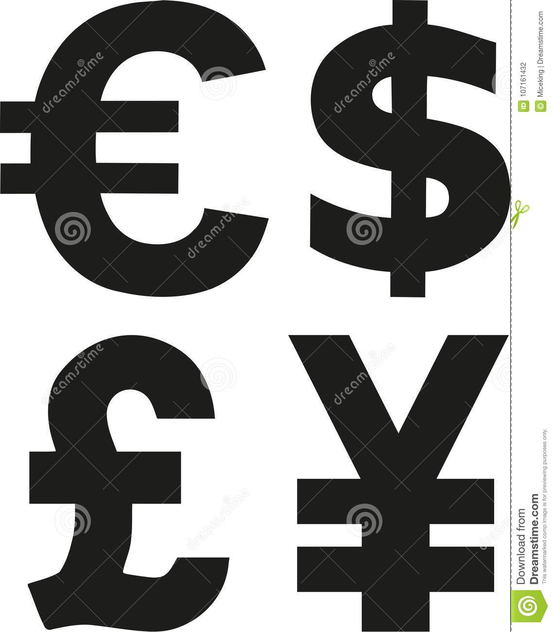 Currency Symbols Vector Stock Vector Illustration Of Bank 107161432