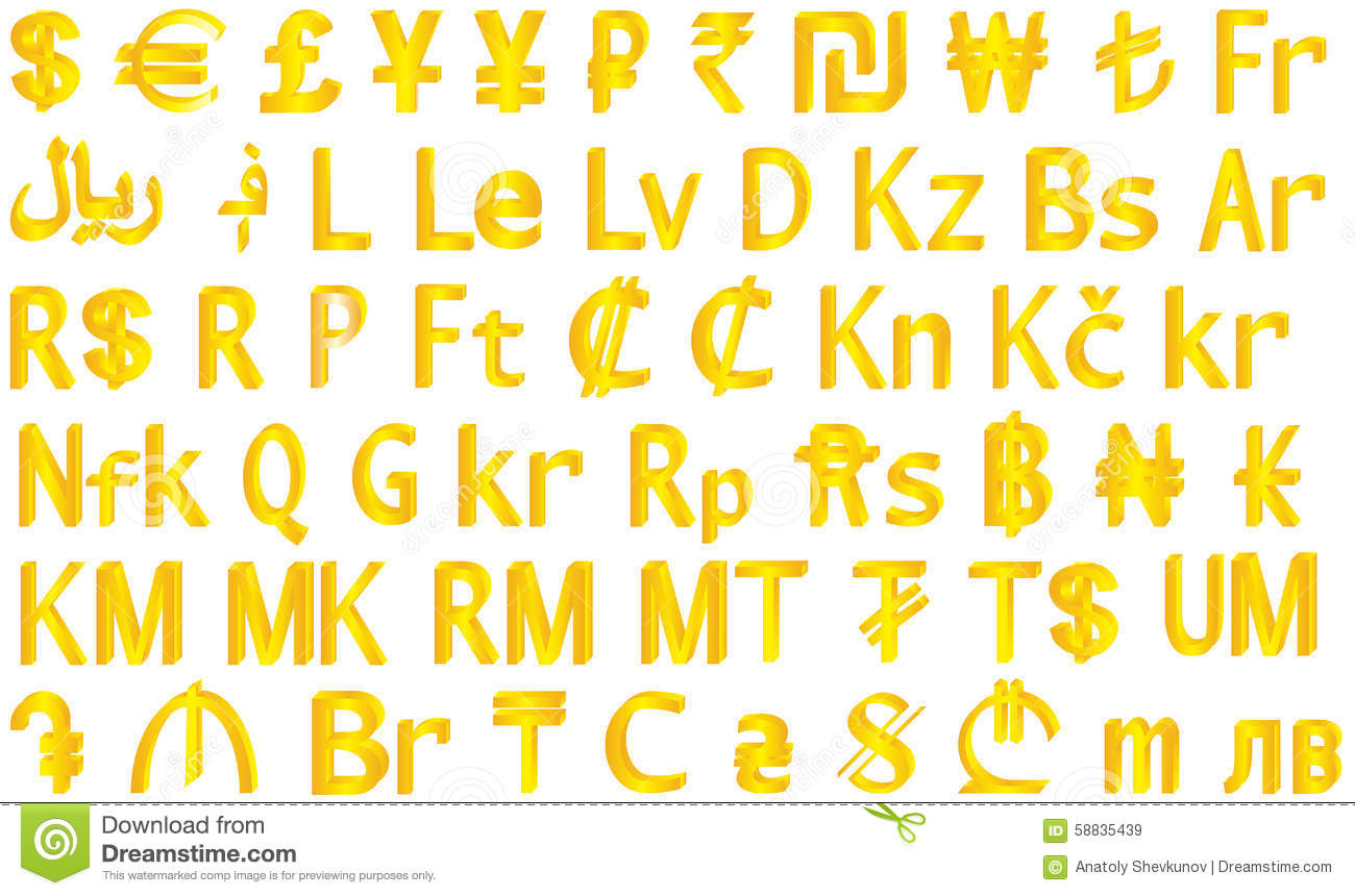 Different gold national currency symbols stock illustration currency symbols royalty free stock images buycottarizona