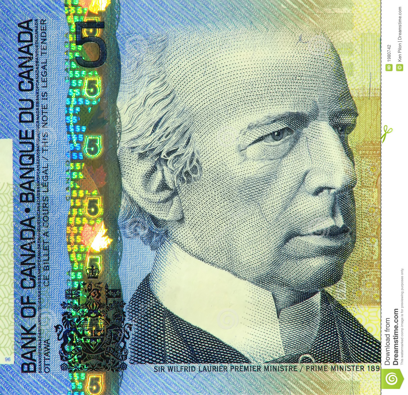 current canadian  5 banknote stock photography