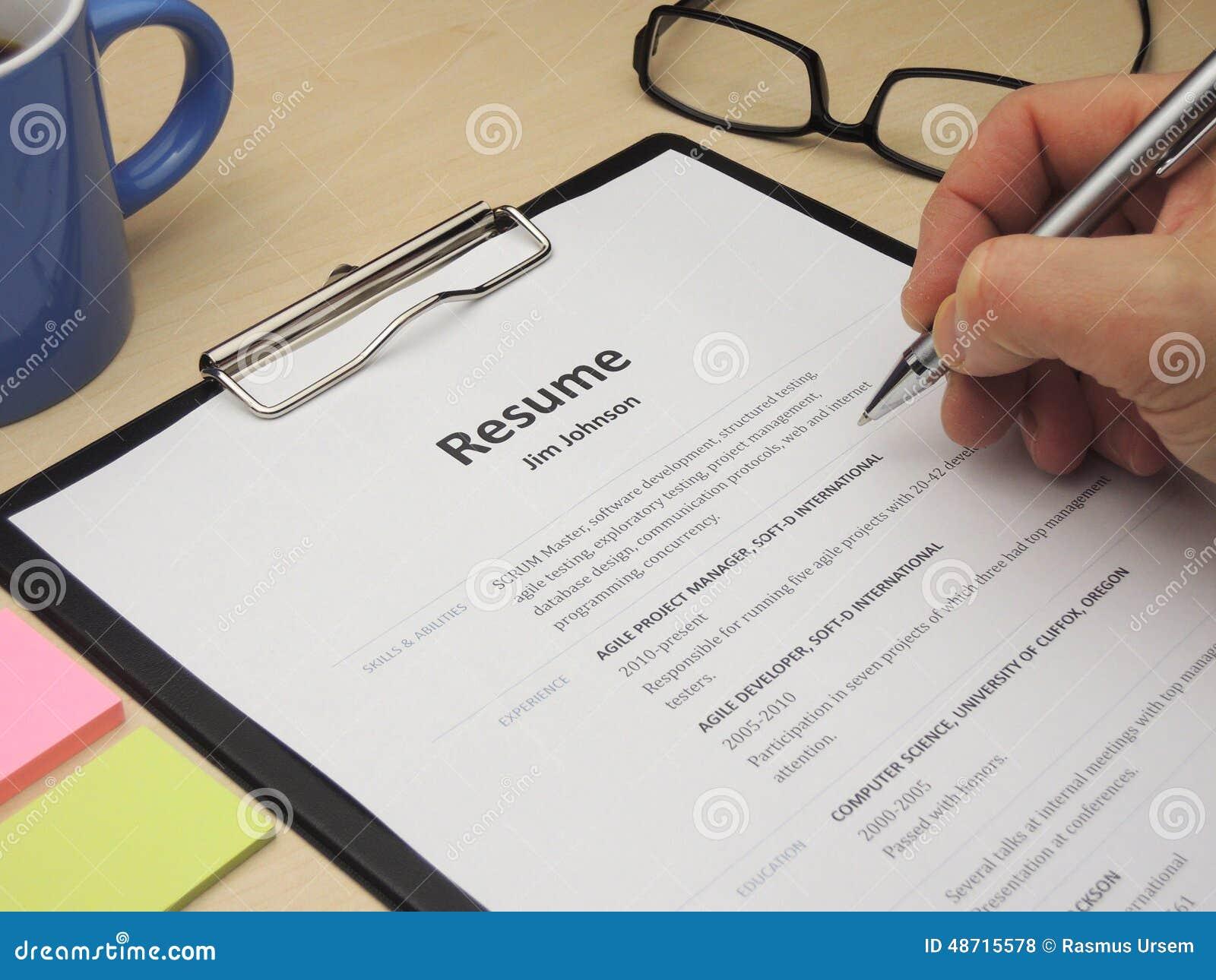 Curriculum vitae foto de archivo. Imagen de resume, negocios - 48715578