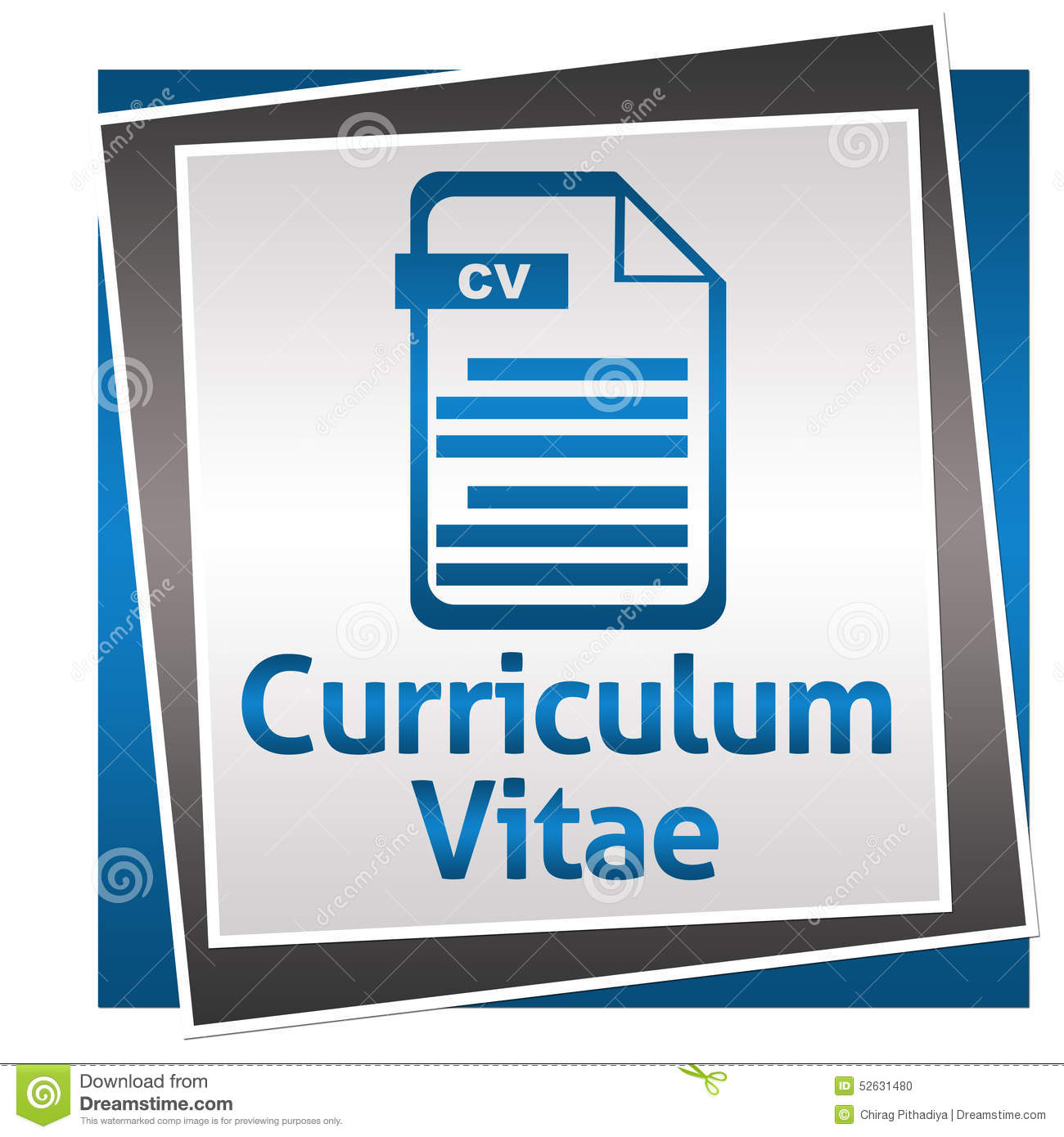 curriculum vitae blue grey square with icon stock illustration