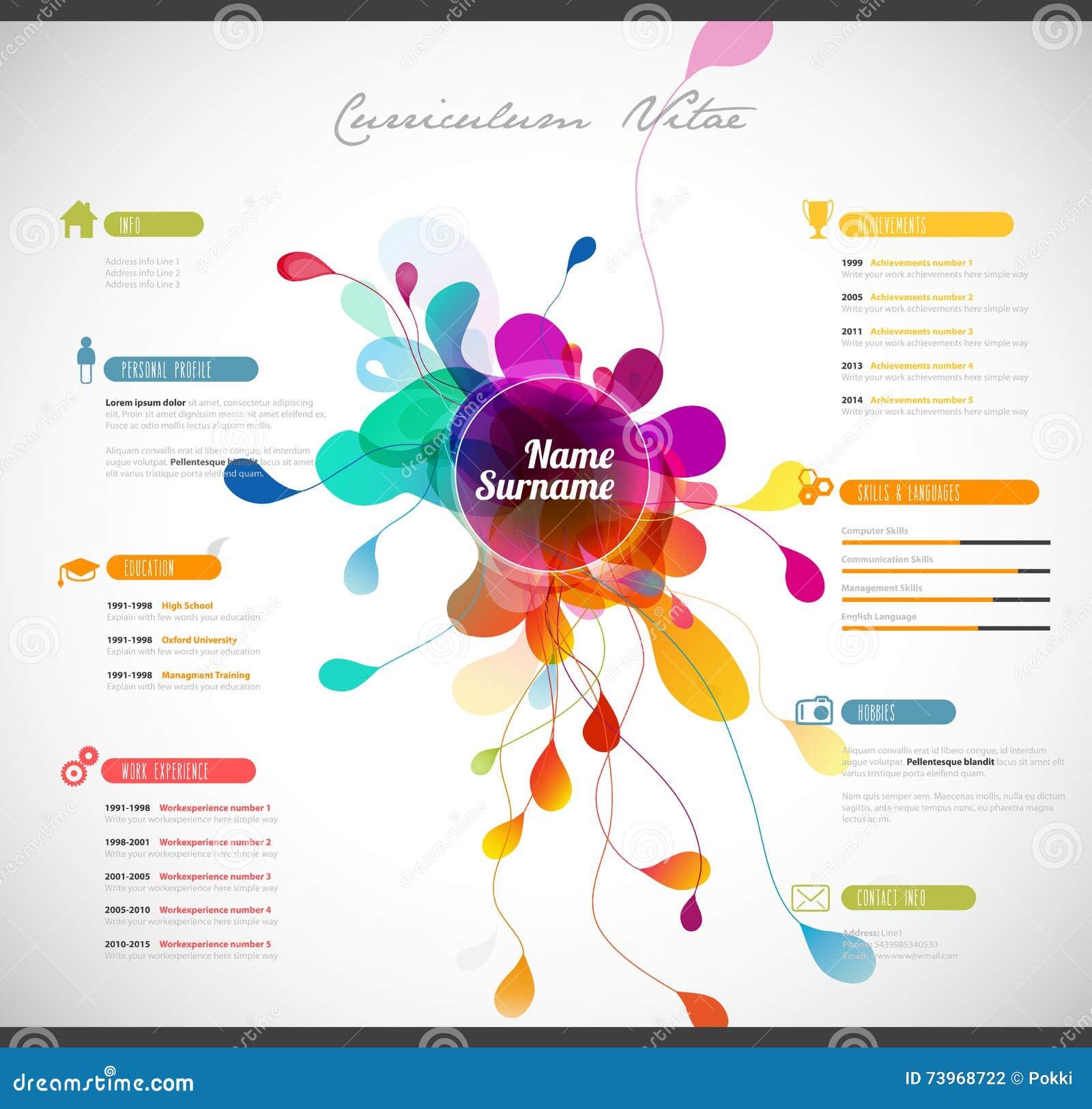 Curriculum vitae colorido ilustración del vector. Ilustración de ...
