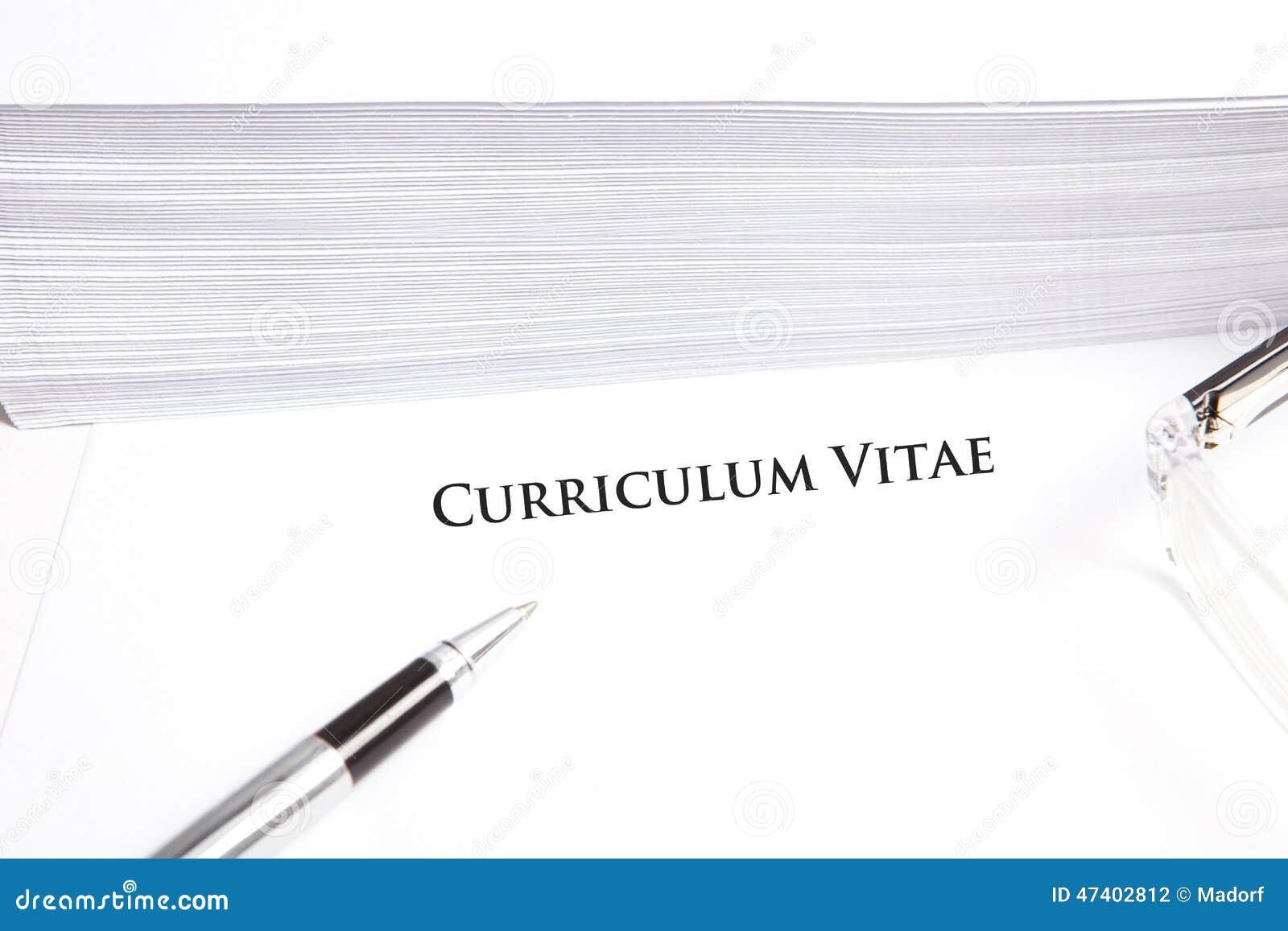 Curriculum Vitae Con Lo Spazio Vuoto Del Testo Sul Documento Bianco