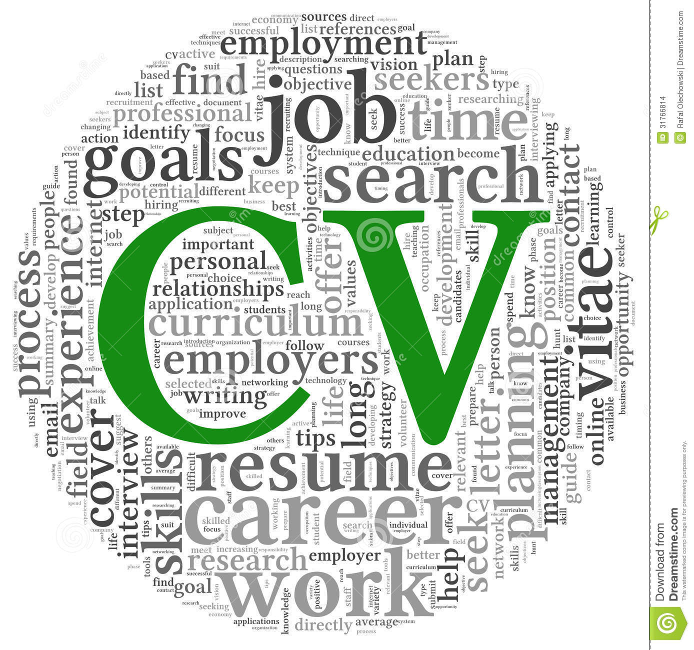 curriculum vitae concept in word tag cloud stock