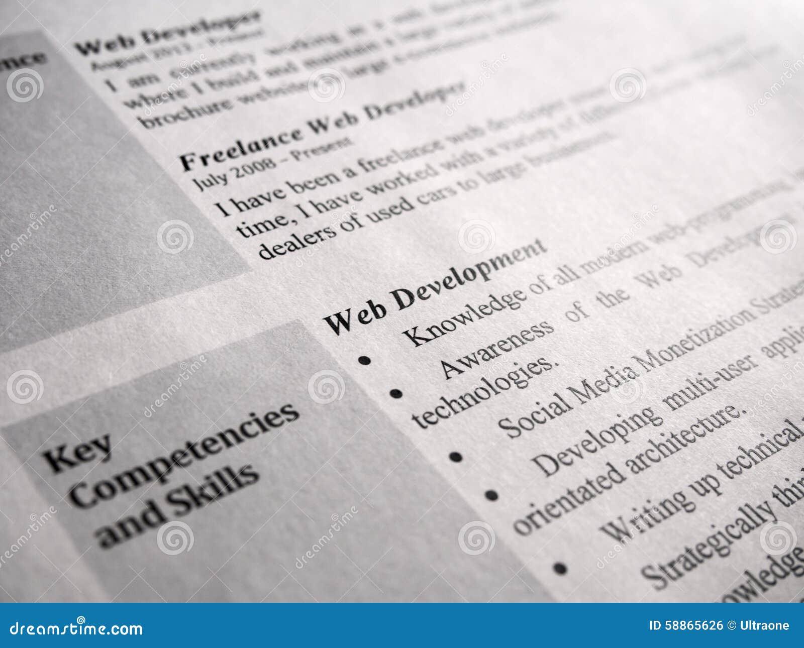 Curriculum Vitae Del Desarrollador De Web Foto de archivo - Imagen ...