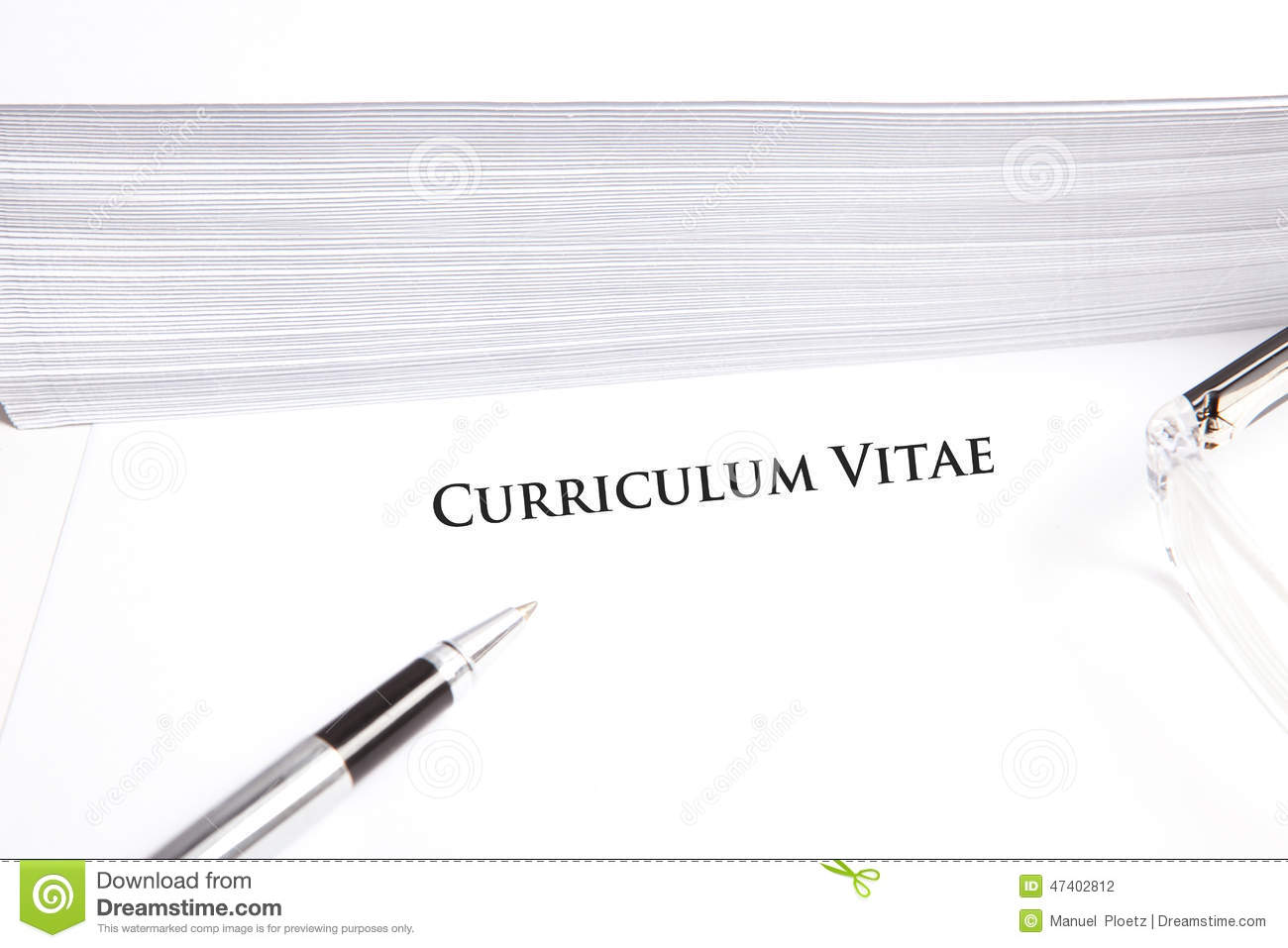 curriculum vitae with empty text space on white document stock
