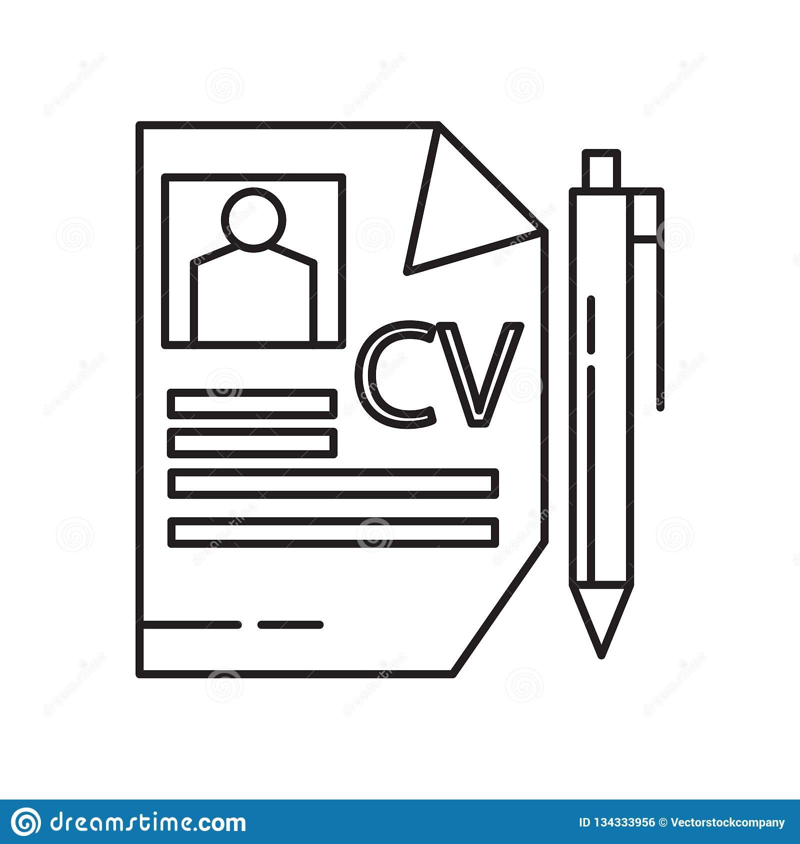 Curriculum Vitae Icon Vector Sign And Symbol Isolated On