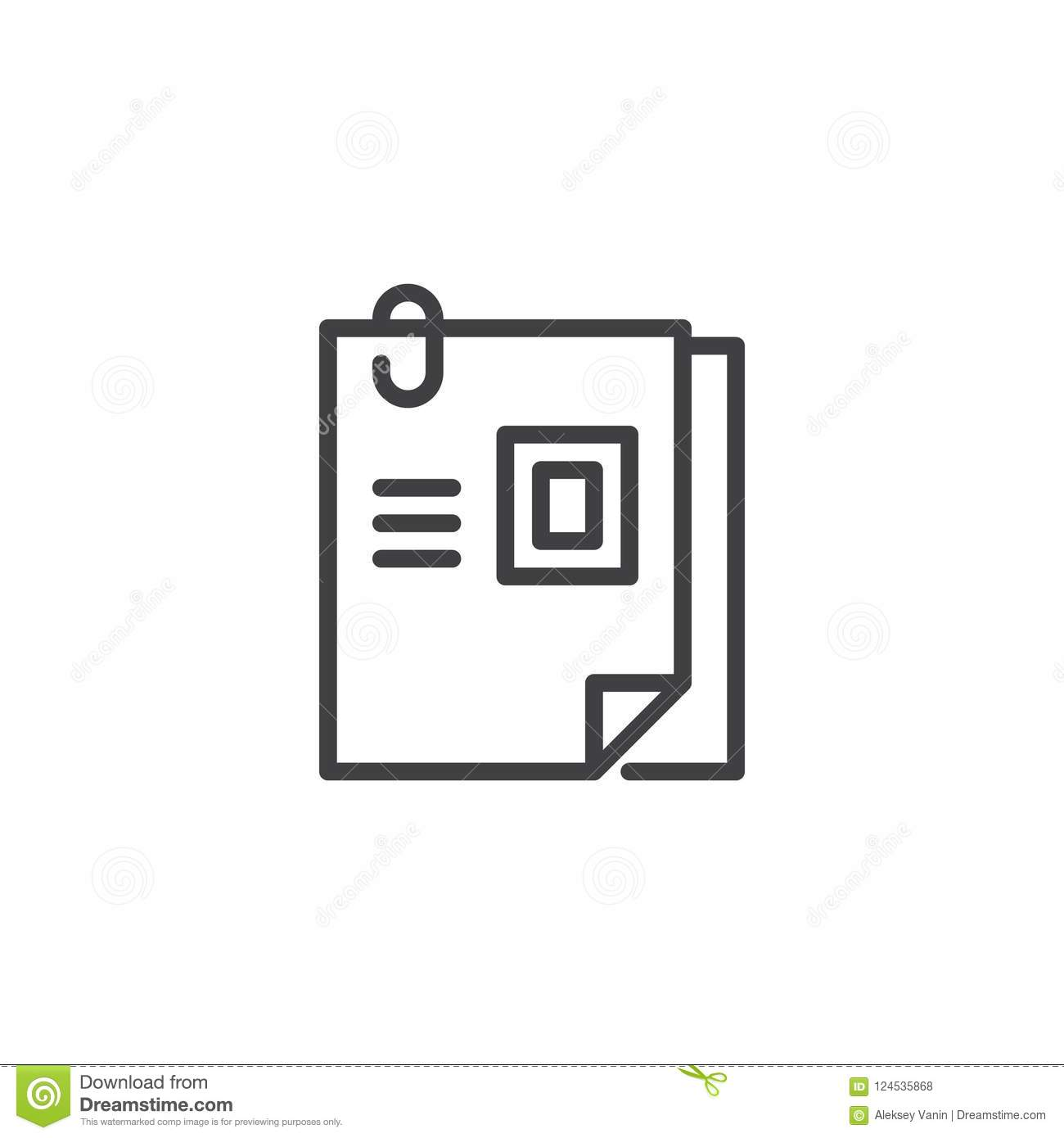 curriculum vitae outline icon stock vector illustration of