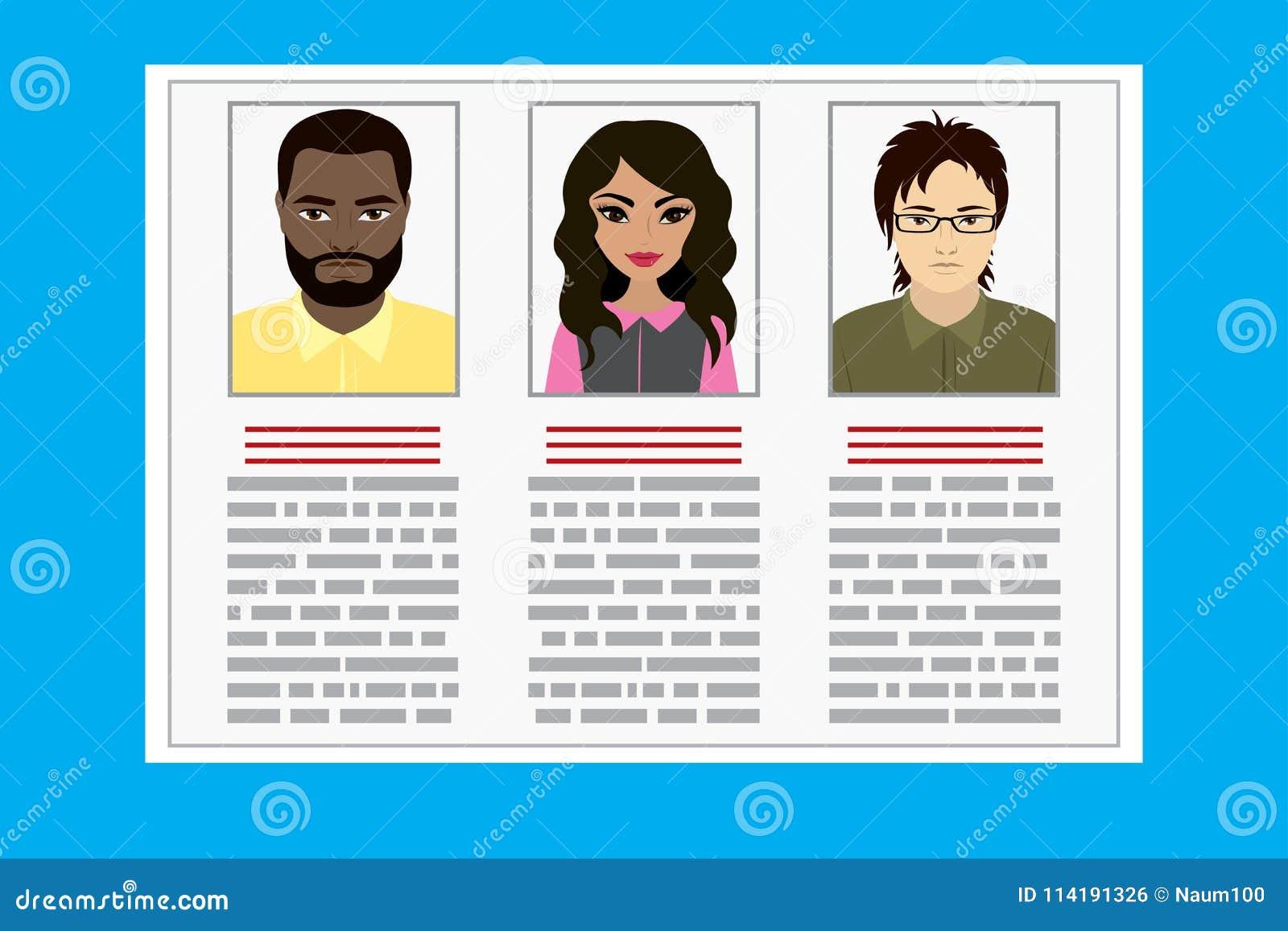 Curriculum Vitae Recruitment Candidate Job Position Stock Vector