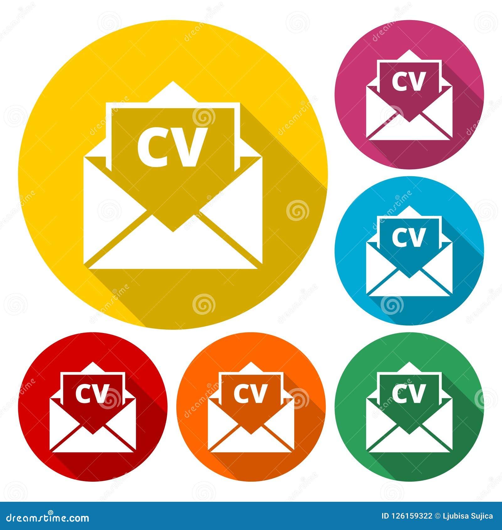 Curriculum Vitae Resume Opened Envelope Concept Cv Resume Icon