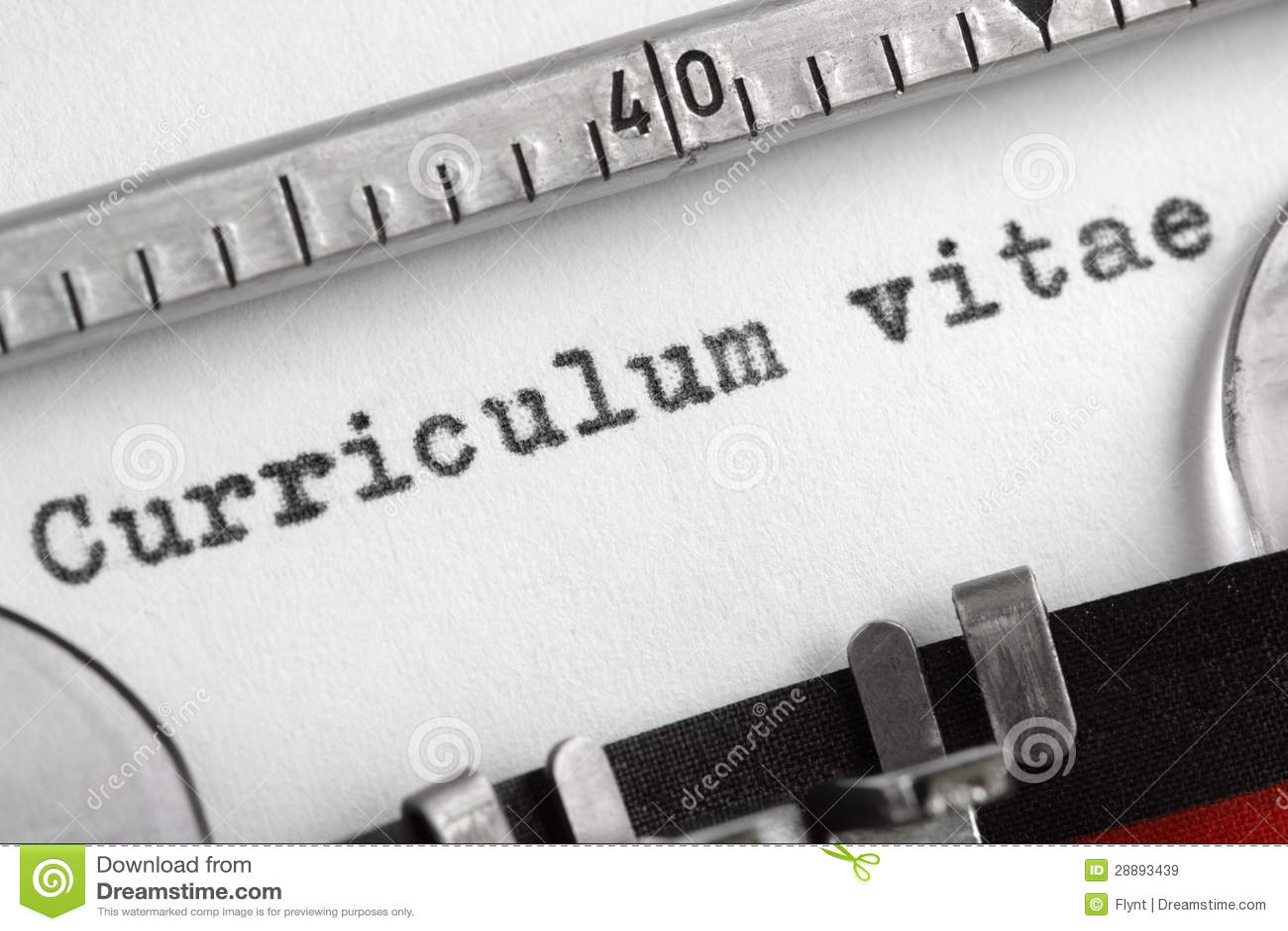 Curriculum Vitae Scritto Sulla Macchina Da Scrivere Immagine Stock
