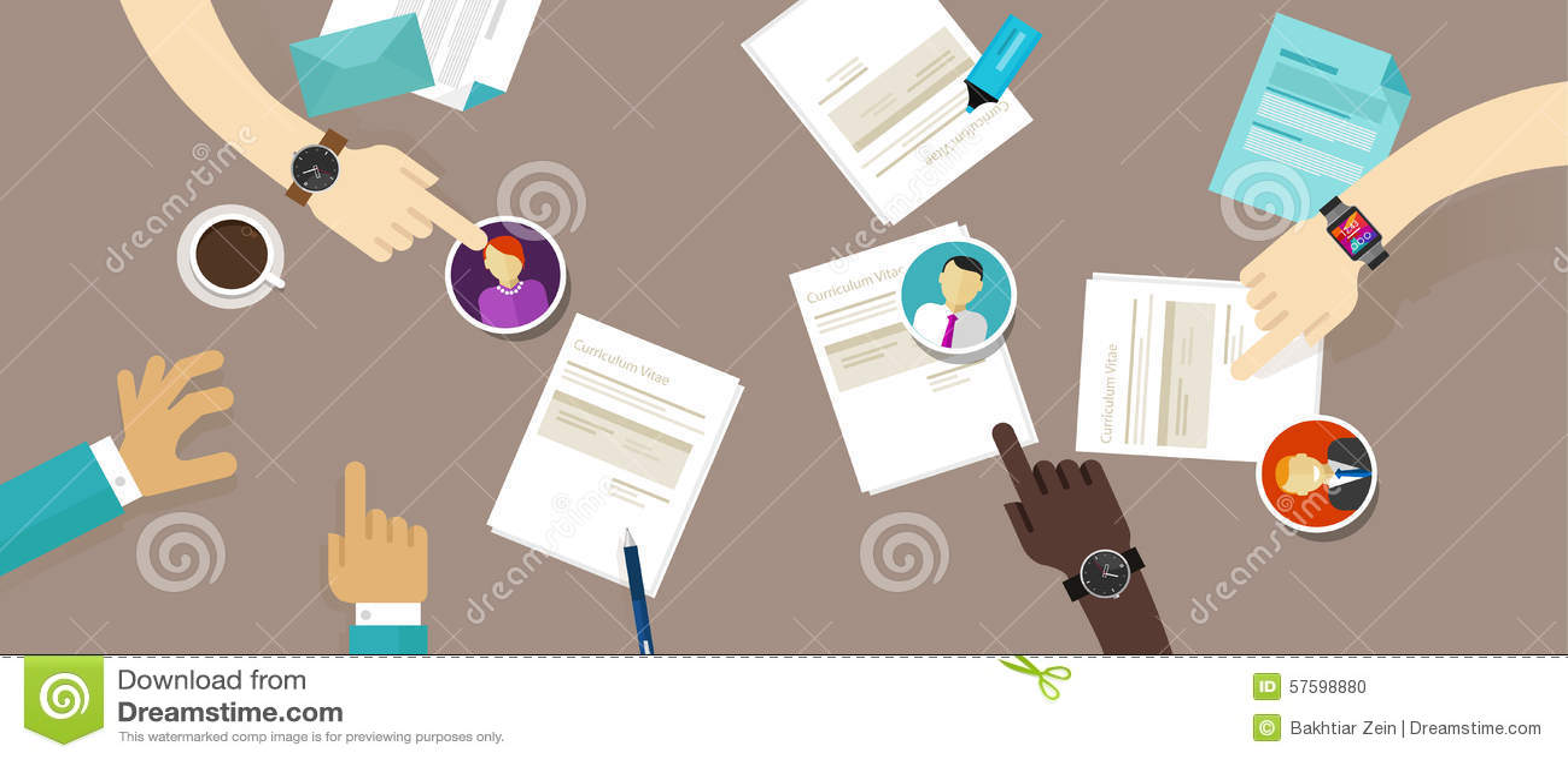 Curriculum vitae selecto del cv en el proceso del reclutamiento del empleado del escritorio