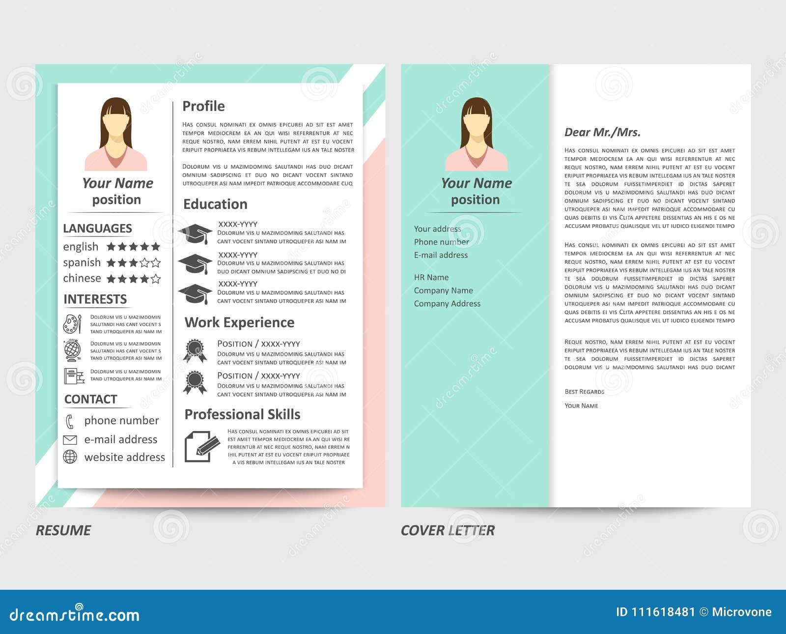 Curriculum Vitae Y Plantilla Femeninos De La Carta De Presentación ...