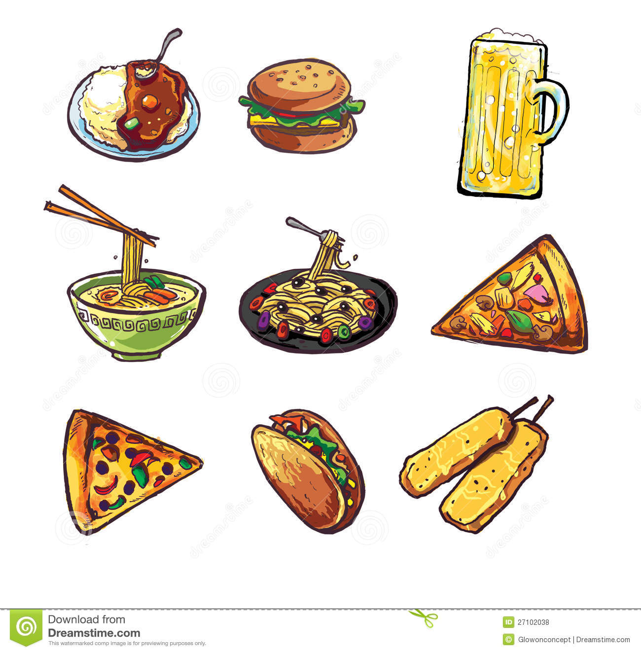 International and different kind of food illustration can use as