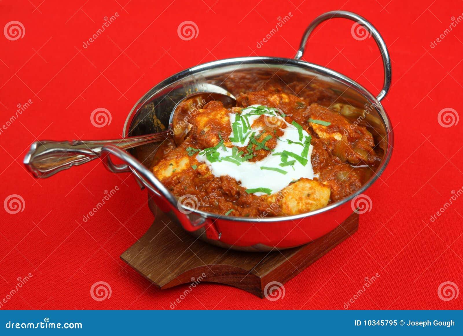 Curry indio de Madras del pollo