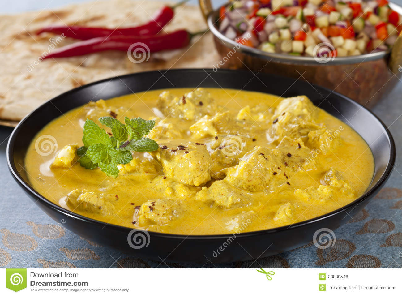 Curry With Kachumber And Naan Royalty Free Stock Photos ...