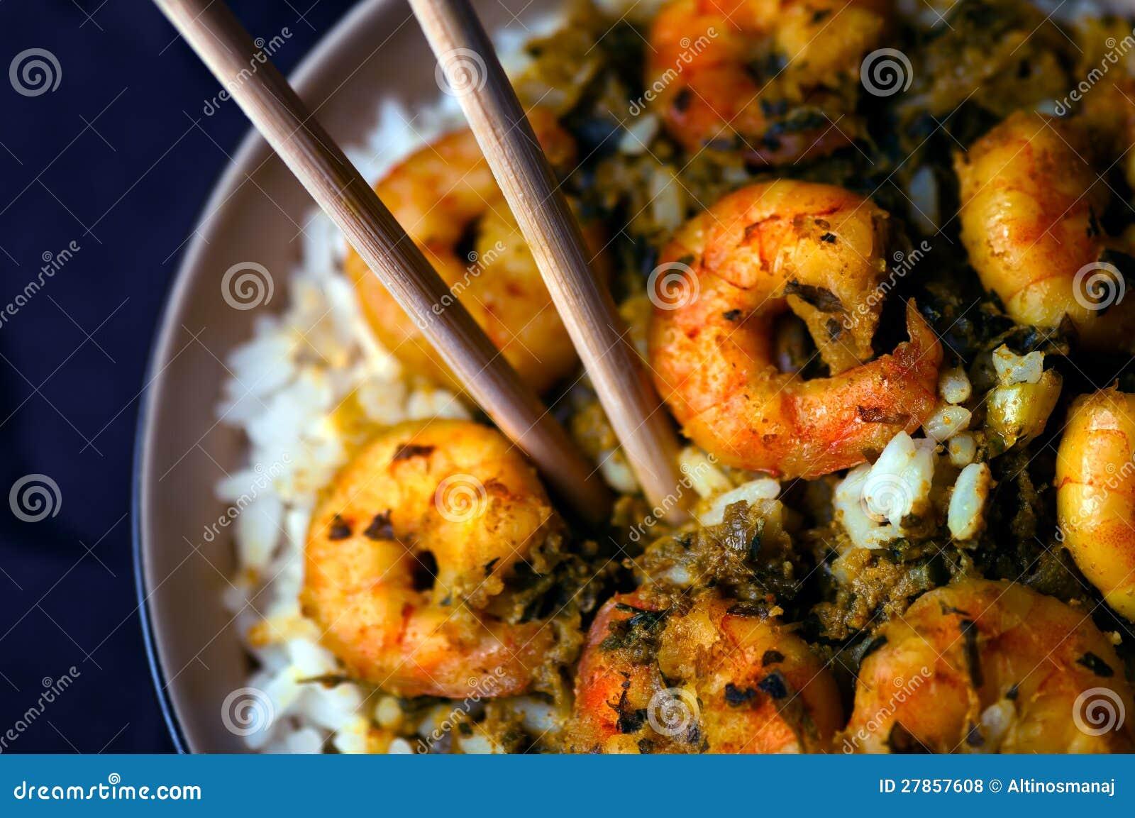 Curry krewetki z ryż