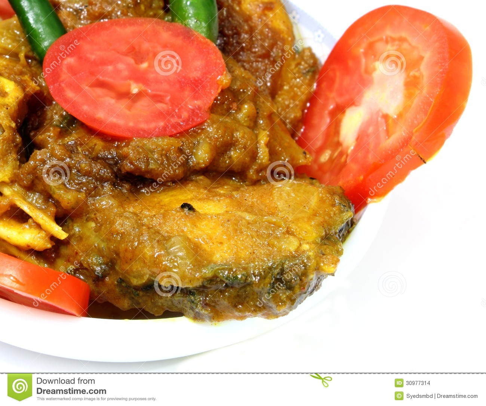 Curry piccante del pesce