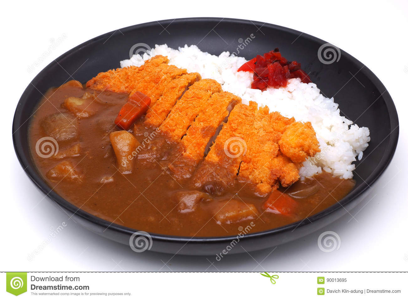 Download Curry Rice With Deep Fried Pork Or Katsu Kare Japanese Style F Stock