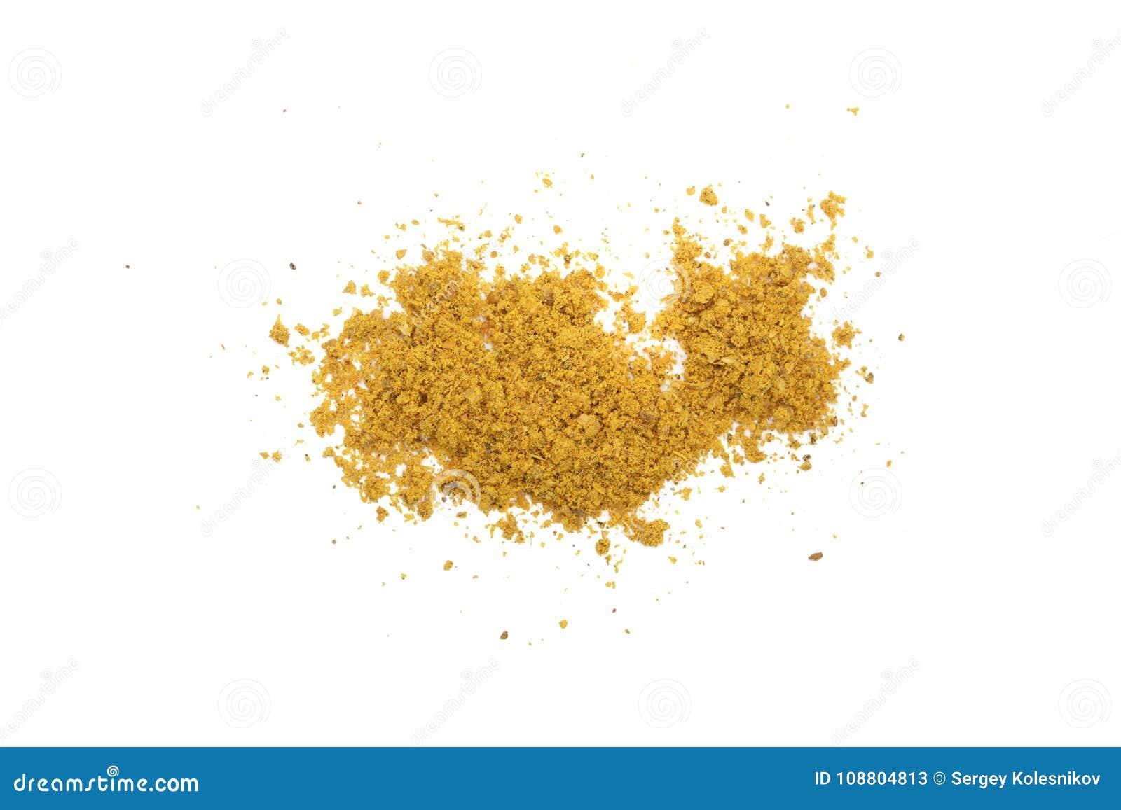 Curry som isoleras på vit bakgrund Top beskådar