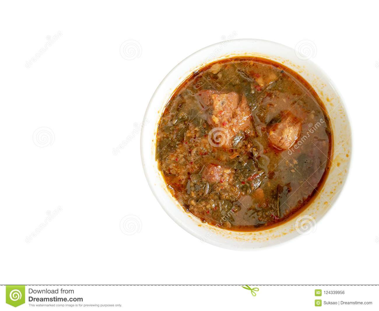 Curry spice pork with garcinia cowa leaves.