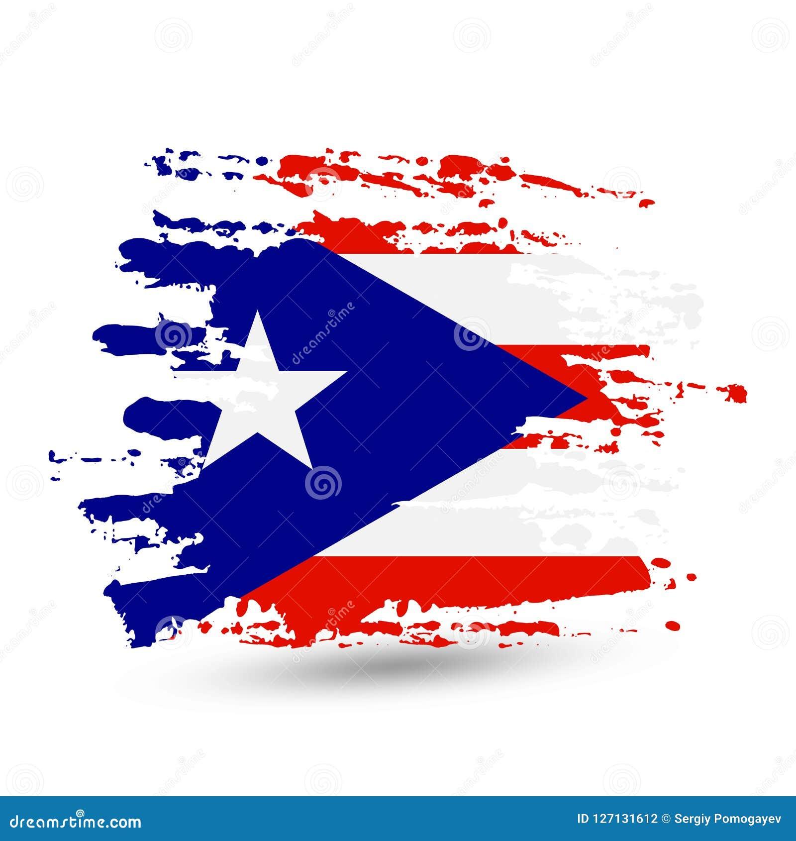 Curso da escova do Grunge com a bandeira nacional de Porto Rico