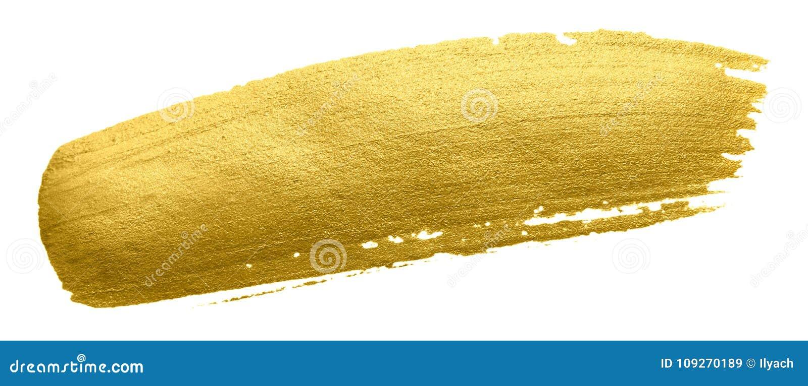 Curso da mancha da escova de pintura do ouro Mancha dourada acrílica da cor no fundo branco Illustrati lustroso textured de brilh