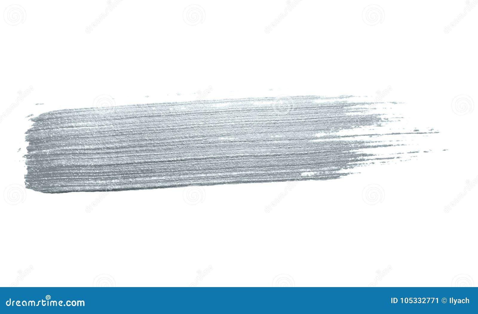 Curso de prata da escova de pintura do brilho ou mancha abstrata da solha com textura do borrão no fundo branco para o te luxuoso