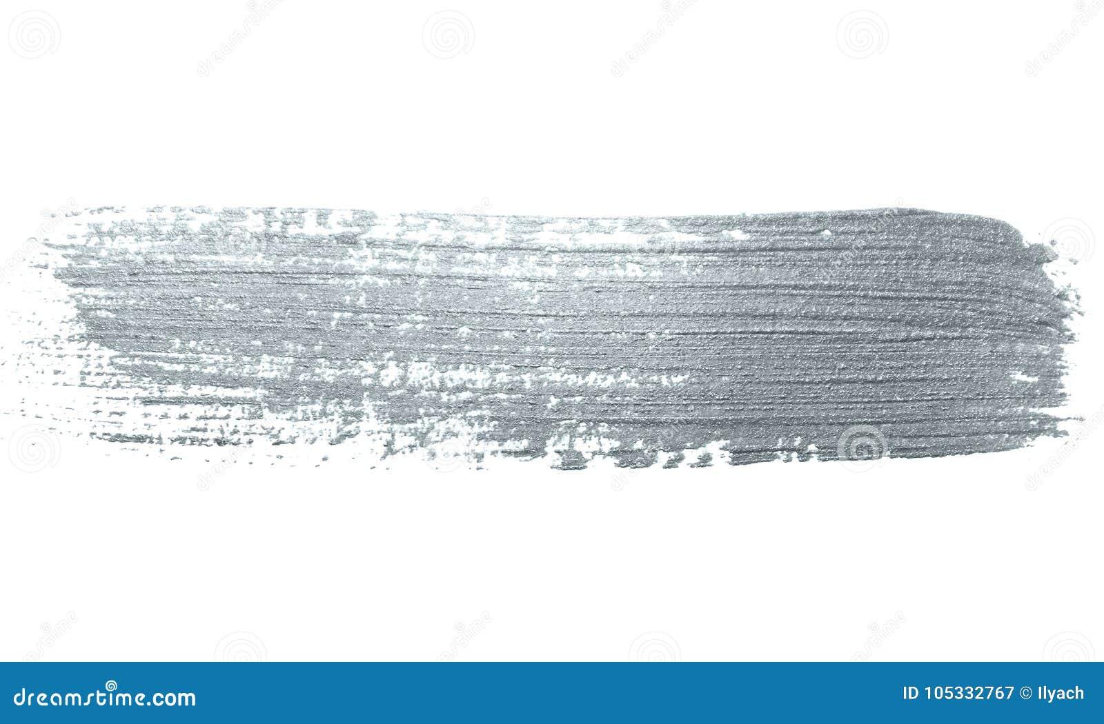 Curso de prata da escova de pintura do brilho ou mancha abstrata da solha com textura do borrão no fundo branco Sil efervescente