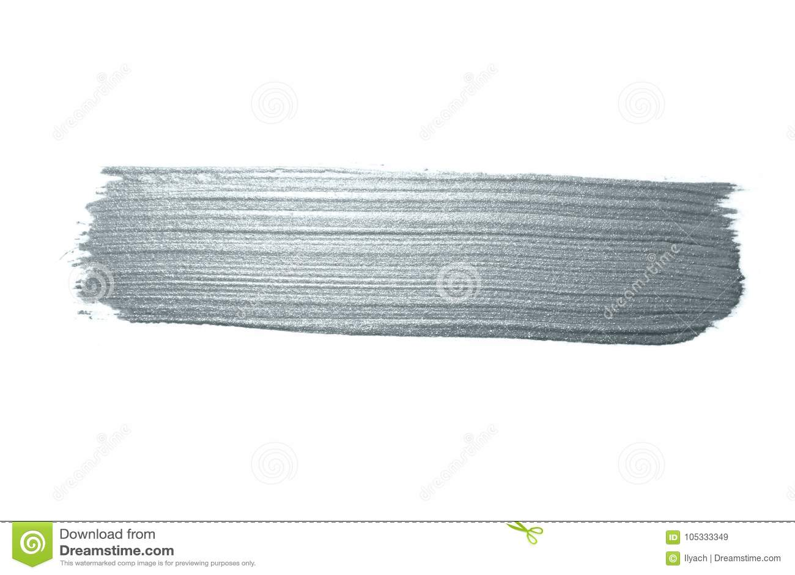 Curso de prata da escova de pintura ou mancha abstrata da solha com textura de prata do brilho no fundo branco Pa de brilho isola