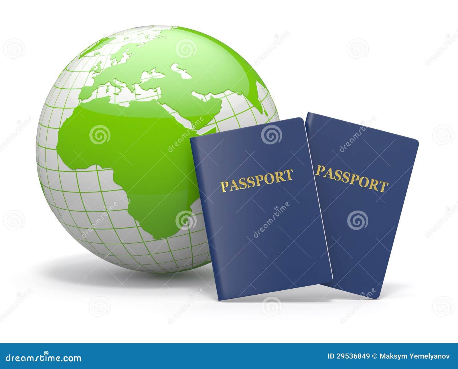 Curso do mundo. Terra e passaporte. 3d