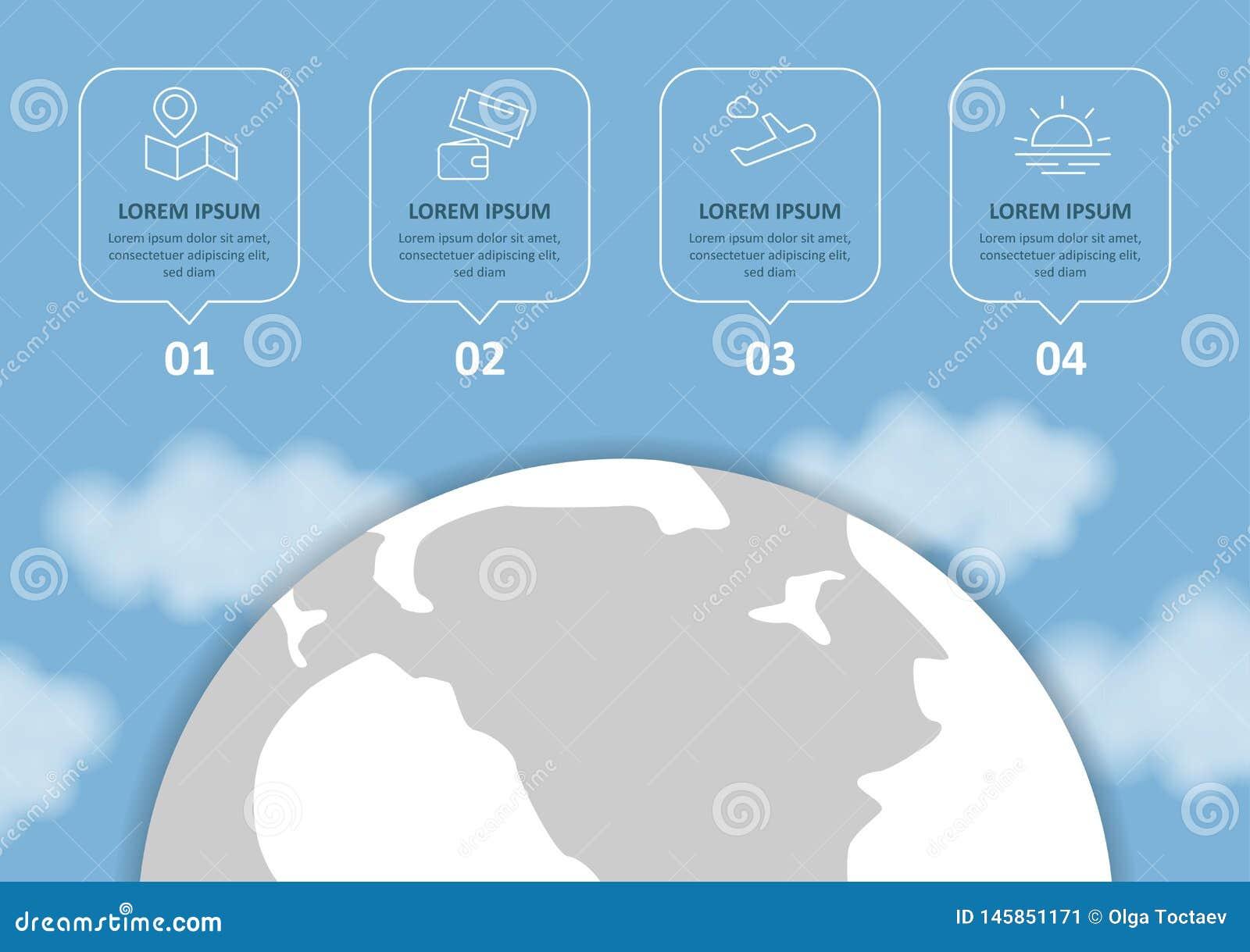 Curso e turismo Infographic ajustou-se com cartas e outros elementos Ilustra??o do vetor