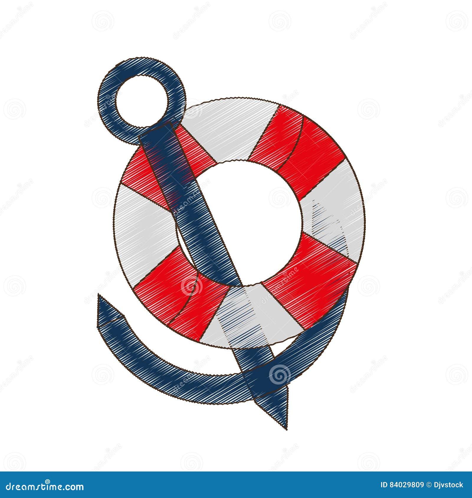 curso náutico da âncora da boia do desenho marítimo ilustração stock