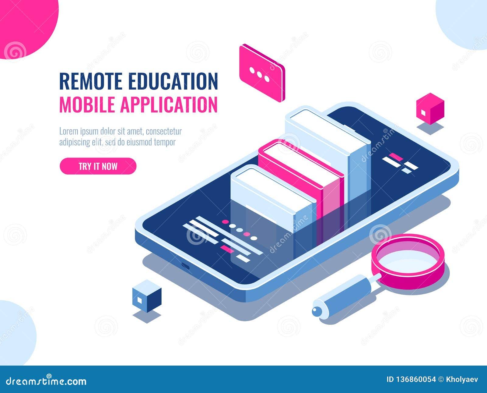 Curso na aplicação do telefone celular, educação em linha, curso do Internet, dados que procuram, desenhos animados do ebook do a