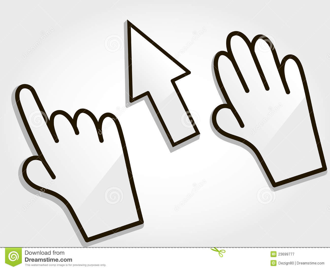 Open Hand Cursor Vector Hand And Cursor On