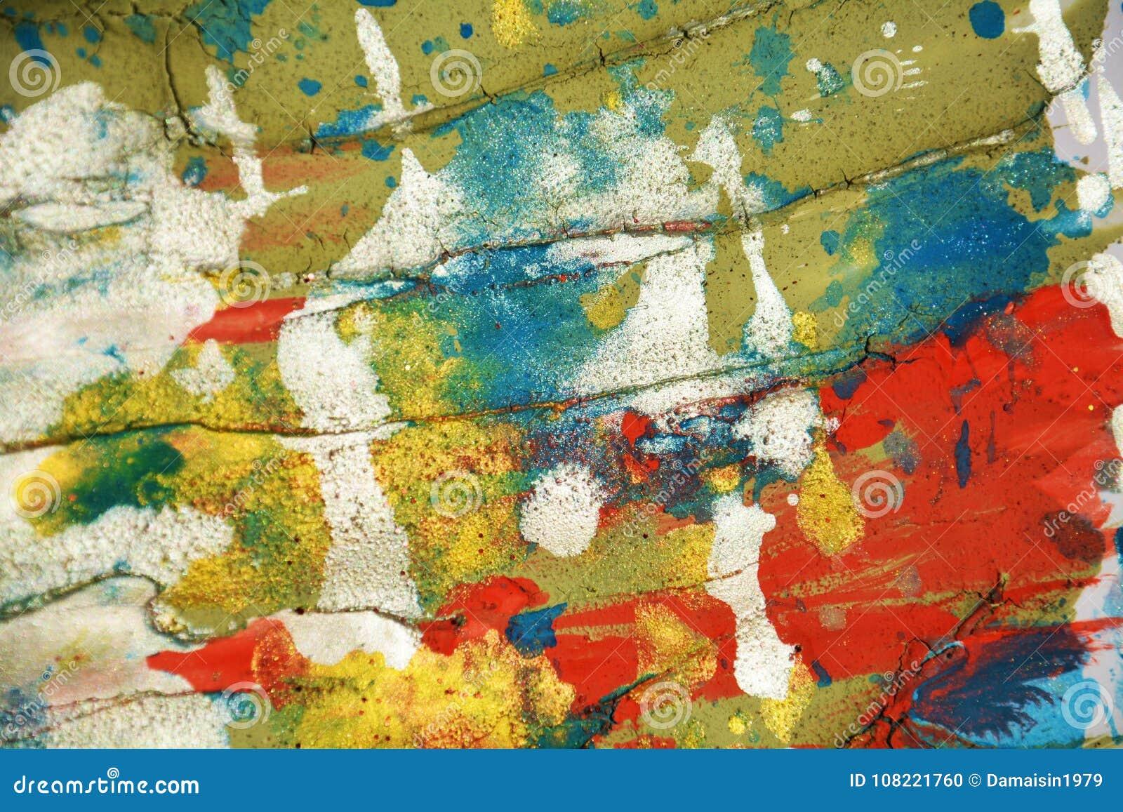 Cursos cerosos pasteis alaranjados verdes de prata brancos do fundo e da escova dos pontos do vermelho azul, matiz, pontos